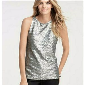 EUC Ann Taylor silver sequin tank sz medium